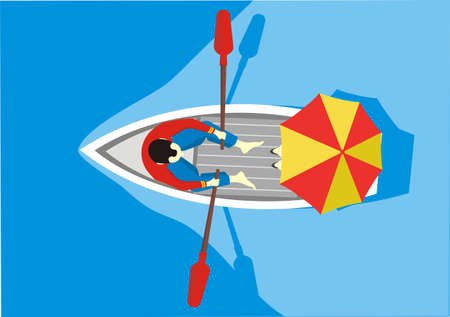 A man and a woman under an umbrella ride in a boat, top view. Couple in love riding in a boat. Vector illustration Иллюстрация