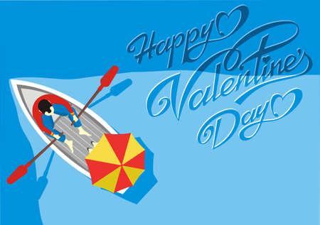 Carte postale-heureuse Saint-Valentin ! Rendez-vous dans le bateau. Couple amoureux à cheval dans une vue de dessus de bateau. Illustration vectorielle
