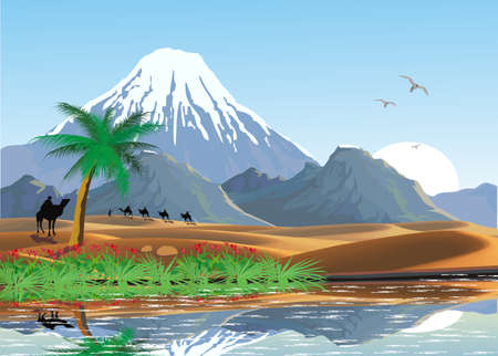 Landscape - mountains and oasis in the desert. A caravan of camels. Lake and palm trees in the desert. Vector illustration Vectores