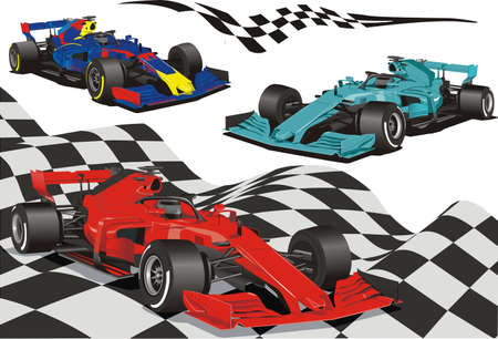 Racing cars on the background of the checkered flag. Vector illustration