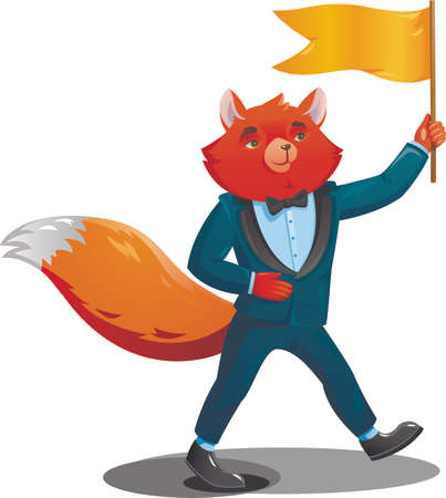 Fox teacher in a suit comes with a flag in one hand. Vector illustration