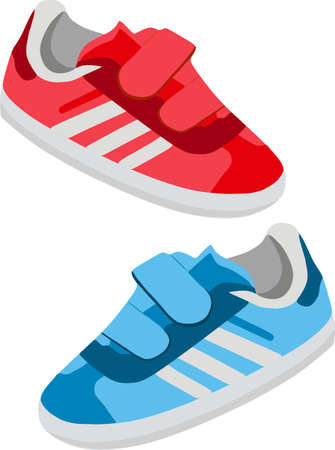Children's shoes, sneakers in red and blue. Vector illustration