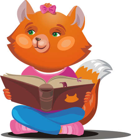 Red Fox with a textbook. Vector illustration.