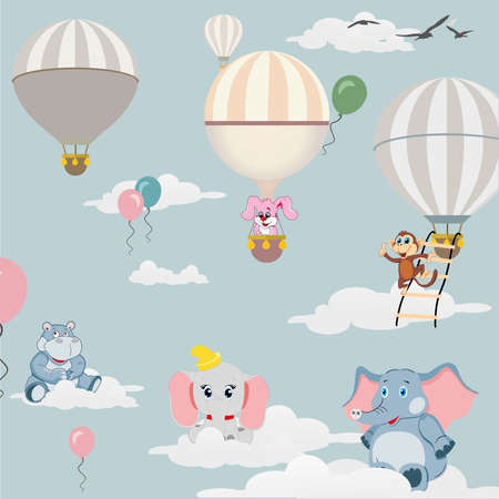 Balloons in the sky and drawings of animals. Vector illustration