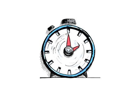 Hand drawn alarm clock on white background. Vector illustration.