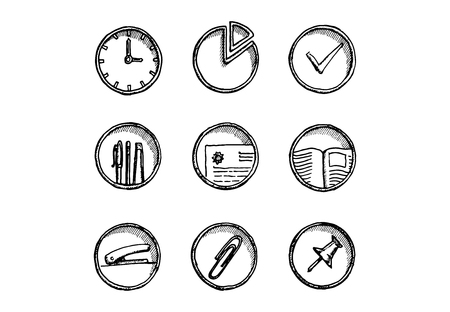 Hand drawn office icon set on white background. Vector illustration.