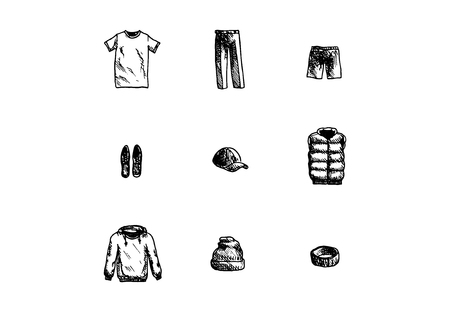 Hand drawn male clothes set on white background. Vector illustration.