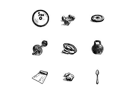 Hand drawn icon set on white background. Vector illustration.