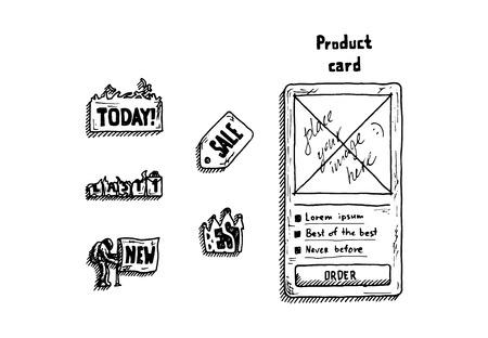 手描きの背景白に店の設定記号。ベクトルの図。  イラスト・ベクター素材