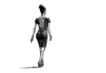 Hand drawn lady on white background. Vector illustration.  イラスト・ベクター素材