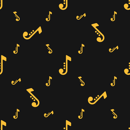 Seamless white silhouettes of musical notes pattern over black background. Saxophone symbols.