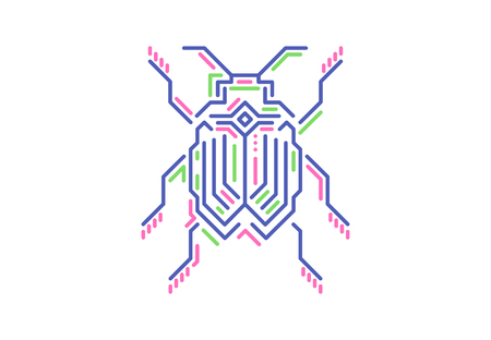 Linear bug. Techno style. Vector illustration on white background.  イラスト・ベクター素材