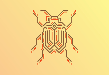 Linear bug. Techno style. Vector illustration on gold background.  イラスト・ベクター素材