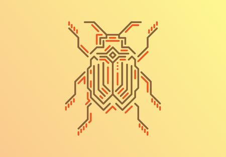線形のバグ。テクノ スタイル。ゴールド背景のベクトル図。  イラスト・ベクター素材