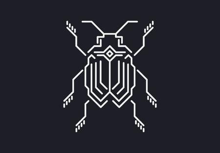 線形のバグ。テクノ スタイル。黒の背景のベクトル図。