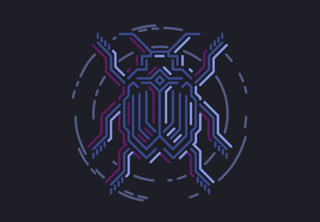 Linear bug in techno style. Vector illustration on black background.  イラスト・ベクター素材