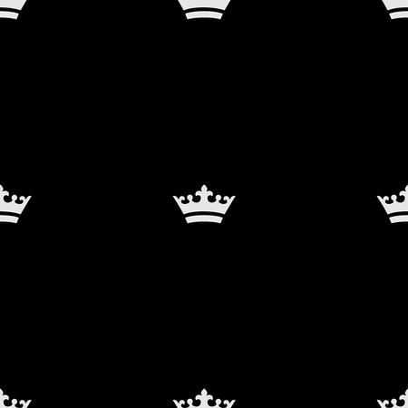 シームレスな白いクラウンのアイコン。黒の背景  イラスト・ベクター素材
