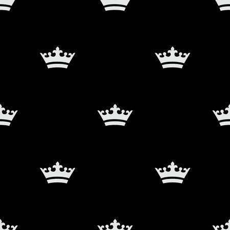 Seamless white crown icons. Black background