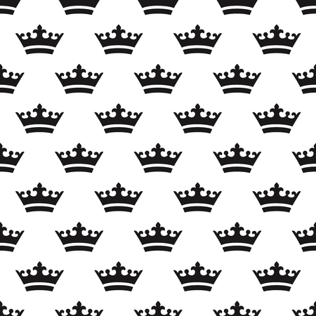 Seamless pattern with black crowns