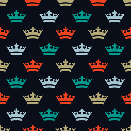 Seamless pattern with dense placed crown icons  イラスト・ベクター素材