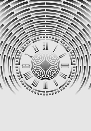 Roman numeral clock on light abstract background  イラスト・ベクター素材