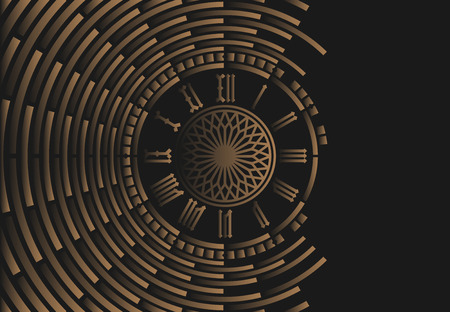 clockwise: Roman numeral clock on black abstract background Illustration