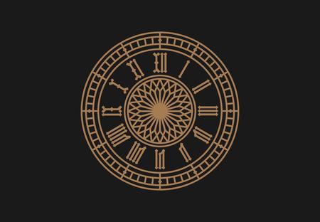 ヴィンテージ時計のダイアル、ローマ数字。ベクター イラストを描く