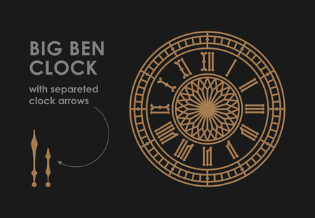 Big Ben dial with clock hands.