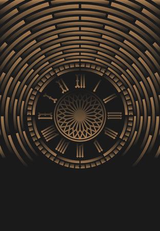黒の抽象的な背景にローマ数字の時計  イラスト・ベクター素材
