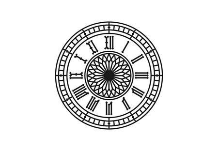 ローマ数字と古いスタイルの時計。ベクター イラストを描く