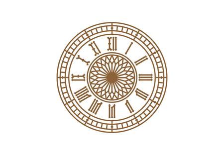 Vintage clock dial with roman numerals on white background