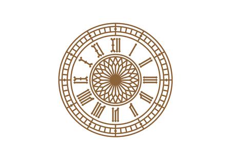 ヴィンテージ時計のダイアル、白い背景の上ローマ数字  イラスト・ベクター素材