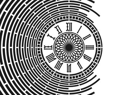 ローマ数字の時計の抽象的な背景