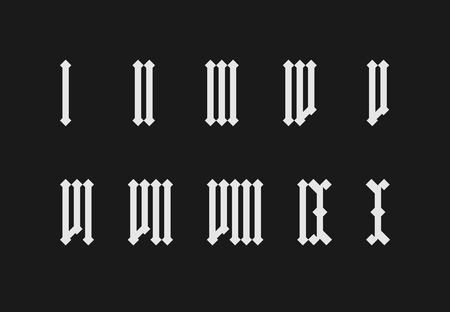 Roman numeral set on black background
