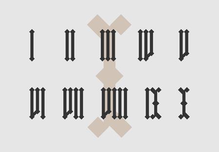 古いスタイルは、ローマ数字のセットを分離しました。  イラスト・ベクター素材