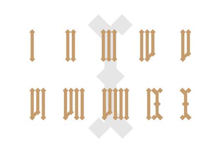 Oude stijl geïsoleerde Romeinse cijfer set.
