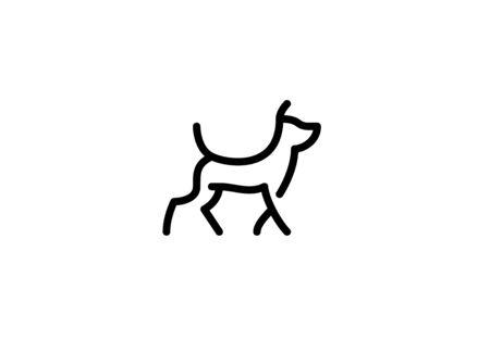 Running dog linear on white background.  イラスト・ベクター素材