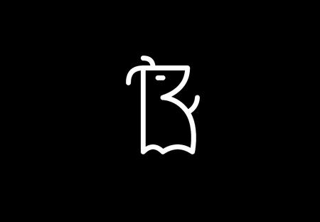 Linear dog on black background.  イラスト・ベクター素材