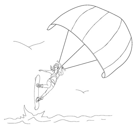 quickness: Silhouette of a girl and a kite. Kitesurfing