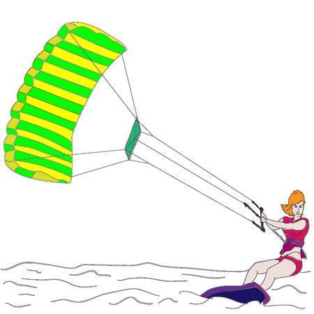coastal: Silhouette of a girl and a kite. Kitesurfing