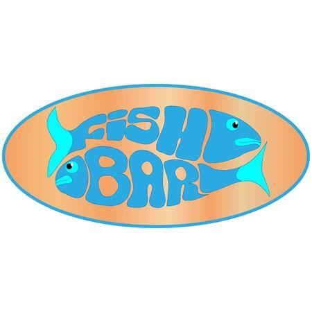 restaurant eating: seafood restaurant label Illustration