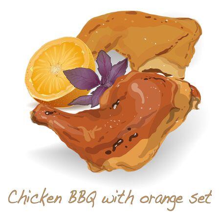 quarters: Chicken Leg Quarters BBQ isolated Illustration