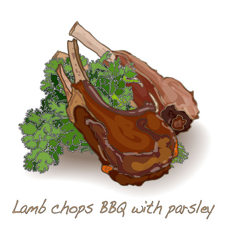 chops: lamb chops BBQ isolated white background