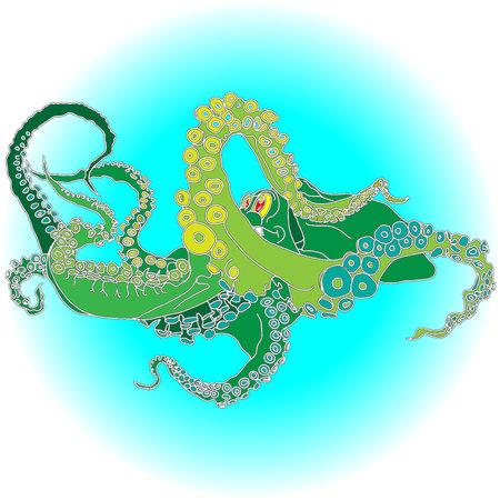 Vector drawing of an octopusKraken isolated