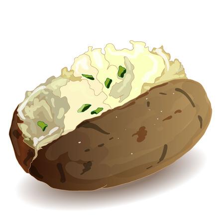 Potato BBQ vector isolated white background