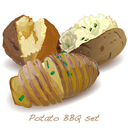 ready cooked: Potato BBQ vector isolated white background