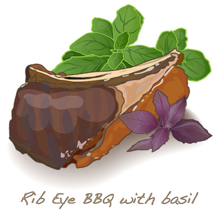 barbecue ribs: rib eye bbq with basil isolated Illustration