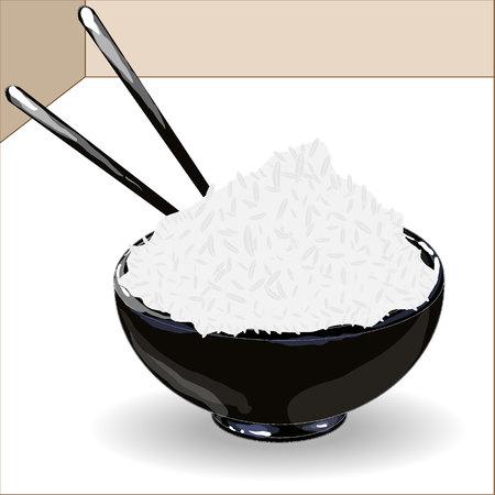 jasmine rice: Japanese Cuisine, Illustration of Rice DonburiBowlCup Isolated