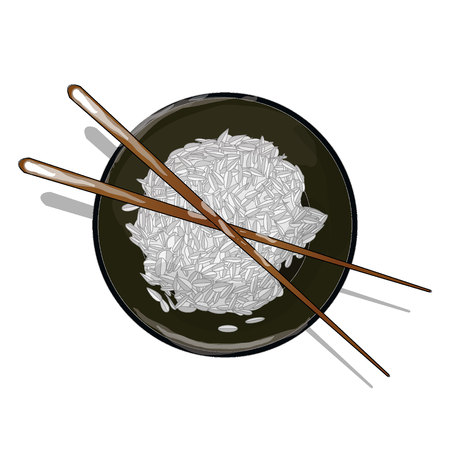 cooked rice: Japanese Cuisine, Illustration of Rice DonburiBowlCup Isolated