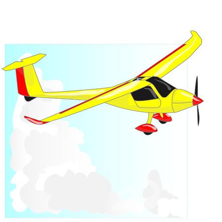 Glider sailplane illustration isolated on sky background